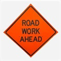 "Sign - ""ROAD WORK AHEAD"""